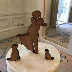 Bride Groom & Dog wooden cake topper