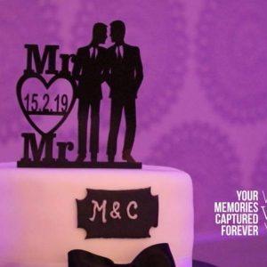 Mr & Mr Black Acrylic cake topper