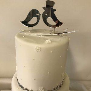 Silver lovebirds cake topper